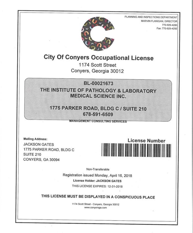 Business License Conyers 2018